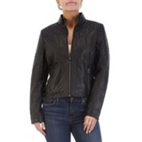 GIACCA Moto Shoulder Faux Leather Jacket