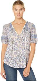 Lucky Brand Printed Short Sleeve Henley Top