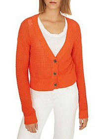 Sanctuary Knit Cotton Blend Cropped Cardigan ORANG