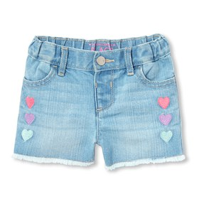 Baby And Toddler Girls Embroidered Denim Shorts