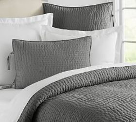 Pottery Barn Pick-Stitch Handcrafted Quilt & Shams
