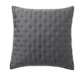 Pottery Barn Tencel™ Quilted Shams - Charcoal