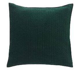 Pottery Barn Velvet Channel Quilted Shams - Spruce