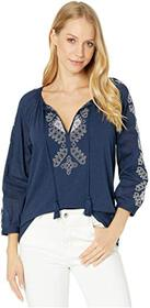 Lucky Brand Embroidered 3/4 Sleeve Top
