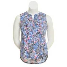 Notations Sleeveless Pintuck Front Floral Paisley