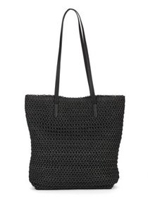 Time & Tru Black Packable Straw Tote