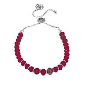 Ottoman Silver Faceted Red Cordundum Bead Adjustab