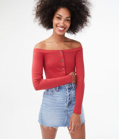 Aeropostale Seriously Soft Button-Front Off-The-Sh