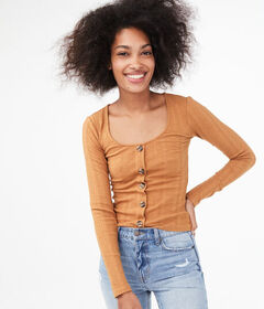 Aeropostale Long Sleeve Seriously Soft Button-Fron