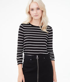 Aeropostale Long Sleeve Seriously Soft Striped Cre
