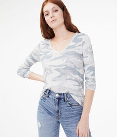 Aeropostale Long Sleeve Camo V-Neck Tee