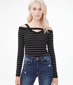Aeropostale Long Sleeve Seriously Soft Striped Col