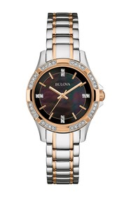 Bulova Women's Swarovski Crystal Black Dial Two-To