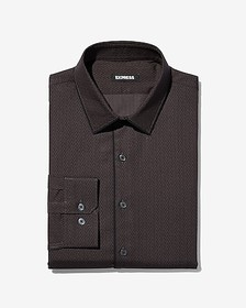Express slim piped print dress shirt