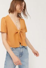 UO Lucy Linen Tie-Front Cropped Blouse