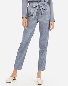 Express high waisted linen-blend paperbag ankle pa