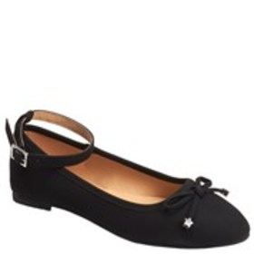 Girls Bow Front Ankle Strap Ballet Flats