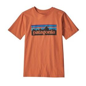 Boys' P-6 Logo Organic Cotton T-Shirt, Sunset Oran