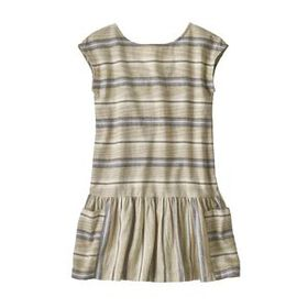 Girls' Lightweight Hemp Dress, Tarkine Stripe Smal