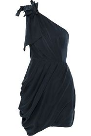 ZIMMERMANN One-shoulder draped washed-silk mini dr