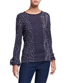 NIC+ZOE Dotted Line Tie-Cuff Top