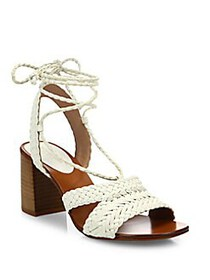 Michael Kors Lawson Leather Lace-Up Sandals OPTIC