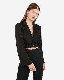 Express twist front cropped tuxedo top