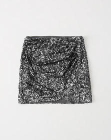 Sequin Wrap Mini Skirt, EMBELLISHED SILVER
