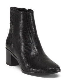 reveal designer Leather Side Zip Ankle Booties