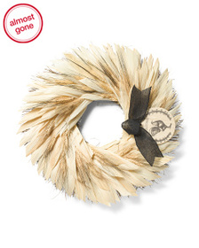 FLORAL TREASURE 22in Wheat And Corn Husk With Plaq