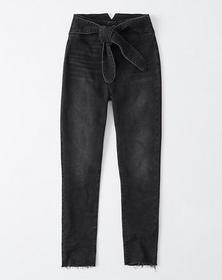 Ultra High Rise Belted Ankle Jeans, WASHED BLACK