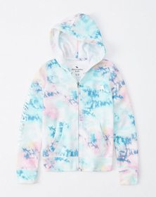 shiny logo full-zip hoodie, multi color tie dye wi