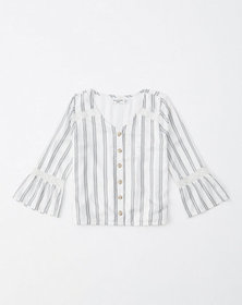 lace detail button-up shirt, white stripe