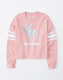 flip sequin crew sweatshirt, pink with embellishme