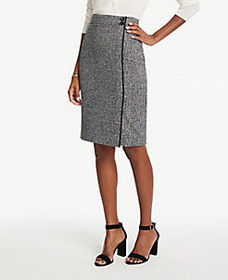 Petite Tweed Button Waist Pencil Skirt