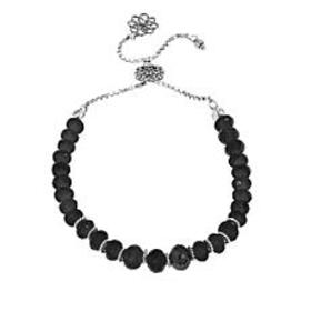 Ottoman Silver Faceted Black Spinel Bead Adjustabl