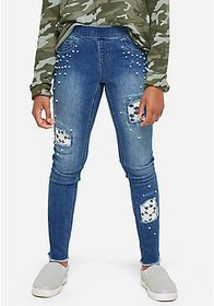 Justice Pearl & Lace Destructed Pull On Jean Leggi