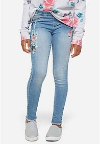 Justice Embroidered Pull On Jean Leggings