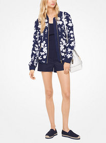 Michael Kors Floral Embroidered Bomber Jacket