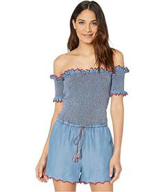 Juicy Couture Chambray Scallop Embroidered Smocked