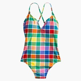 J. Crew Lace-up back one-piece swimsuit in rainbow