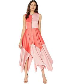 Juicy Couture Soft Satin Color Blocked Midi Dress
