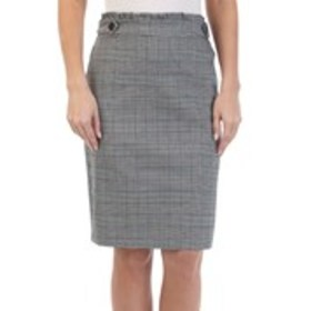 Tab Waist Glen Plaid Pencil Skirt