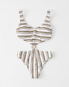 Knot-Front One Piece Swimsuit, OLIVE GREEN STRIPE