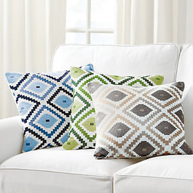 Jane Embroidered Ikat Pillow Cover