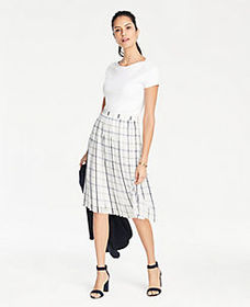 Tall Plaid Pleated Skirt