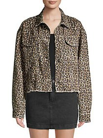 Free People Cheetah-Printed Denim Jacket NEUTRAL