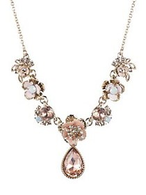Marchesa Floral Crystal Necklace ROSE GOLD