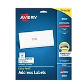 Avery Easy Peel Inkjet Address Labels, 1 x 2 5/8,