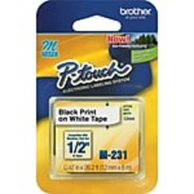 Brother M231 Label Maker Tape, 0.47W, Black On Whi